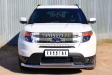 Ford Explorer 2012 Защита переднего бампера d76 (секции) d63 (дуга)  FEZ-001309